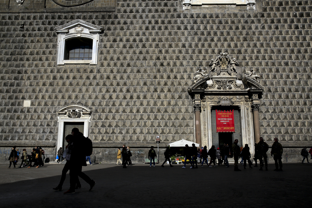 The facade of the Church of Gesù Nuovo (New Jesus) in Naples, Italy February 15, 2018. REUTERS/Tony Gentile