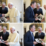 Tony Gentile gives as gift to Pope Francis a copy of his famous picture depicting judges Falcone and Borsellino